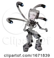 Bot Containing Humanoid Face Mask And Spiral Design And Light Chest Exoshielding And Blue Eye Cam Cable Tentacles And No Chest Plating And Prototype Exoplate Legs Unpainted Metal