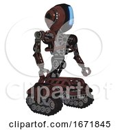 Automaton Containing Round Head And Large Vertical Visor And Head Light Gadgets And Heavy Upper Chest And No Chest Plating And Tank Tracks Steampunk Copper Facing Left View