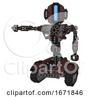 Automaton Containing Round Head And Large Vertical Visor And Head Light Gadgets And Heavy Upper Chest And No Chest Plating And Tank Tracks Steampunk Copper Arm Out Holding Invisible Object