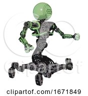 Bot Containing Dots Array Face And Heavy Upper Chest And No Chest Plating And Insect Walker Legs Green Tint Toon Interacting