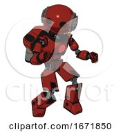 Bot Containing Oval Wide Head And Steampunk Iron Bands With Bolts And Light Chest Exoshielding And Red Chest Button And Rocket Pack And Prototype Exoplate Legs Cherry Tomato Red
