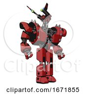 Automaton Containing Dual Retro Camera Head And Communications Array Head And Heavy Upper Chest And Heavy Mech Chest And Shoulder Spikes And Prototype Exoplate Legs Primary Red Halftone Hero Pose