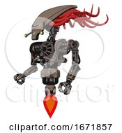 Cyborg Containing Flat Elongated Skull Head And Cables And Heavy Upper Chest And No Chest Plating And Jet Propulsion Khaki Halftone Facing Right View