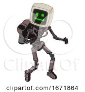 Robot Containing Old Computer Monitor And Happy Pixel Face And Light Chest Exoshielding And Rocket Pack And No Chest Plating And Ultralight Foot Exosuit Dusty Rose Red Metal Fight Or Defense Pose