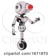 Bot Containing Round Head And Red Laser Crystal Array And Head Light Gadgets And Light Chest Exoshielding And Ultralight Chest Exosuit And Unicycle Wheel White Halftone Toon Interacting