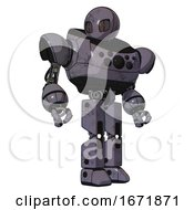 Mech Containing Grey Alien Style Head And Metal Grate Eyes And Heavy Upper Chest And Chest Compound Eyes And Prototype Exoplate Legs Light Lavender Metal Hero Pose