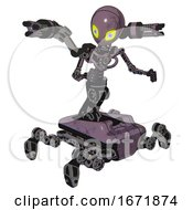 Poster, Art Print Of Android Containing Grey Alien Style Head And Yellow Eyes With Blue Pupils And Light Chest Exoshielding And Minigun Back Assembly And No Chest Plating And Insect Walker Legs Lilac Metal