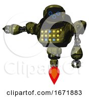 Robot Containing Digital Display Head And Woo Expression And Heavy Upper Chest And Colored Lights Array And Jet Propulsion Grunge Army Green Arm Out Holding Invisible Object