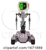 Bot Containing Old Computer Monitor And Abstract Mask Pixel Face And Red Buttons And Light Chest Exoshielding And No Chest Plating And Six Wheeler Base Gray Metal Front View