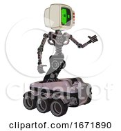 Bot Containing Old Computer Monitor And Abstract Mask Pixel Face And Red Buttons And Light Chest Exoshielding And No Chest Plating And Six Wheeler Base Gray Metal Interacting