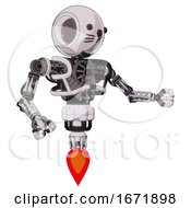 Bot Containing Round Head And Heavy Upper Chest And No Chest Plating And Jet Propulsion And Cat Face White Halftone Toon Interacting