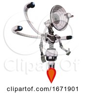 Cyborg Containing Dual Retro Camera Head And Satellite Dish Head And Light Chest Exoshielding And Blue Eye Cam Cable Tentacles And No Chest Plating And Jet Propulsion White Halftone Toon
