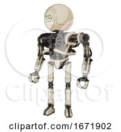 Android Containing Dots Array Face And Heavy Upper Chest And No Chest Plating And Ultralight Foot Exosuit Off White Toon Standing Looking Right Restful Pose
