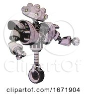Automaton Containing Techno Multi Eyed Domehead Design And Heavy Upper Chest And Heavy Mech Chest And Unicycle Wheel Sketch Pad Dots Pattern Interacting