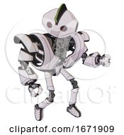 Automaton Containing Oval Wide Head And Small Red Led Eyes And Techno Mohawk And Heavy Upper Chest And Heavy Mech Chest And Ultralight Foot Exosuit White Halftone Toon Fight Or Defense Pose