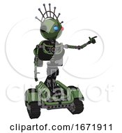 Robot Containing Oval Wide Head And Giant Blue And Red Led Eyes And Techno Halo Ornament And Light Chest Exoshielding And Rocket Pack And No Chest Plating And Tank Tracks Grass Green