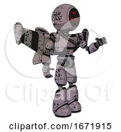 Robot Containing Three Led Eyes Round Head And Light Chest Exoshielding And Rubber Chain Sash And Stellar Jet Wing Rocket Pack And Light Leg Exoshielding Dark Ink Dots Sketch Interacting