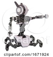 Mech Containing Round Head And Maru Eyes And Head Winglets And Heavy Upper Chest And No Chest Plating And Insect Walker Legs White Halftone Toon Pointing Left Or Pushing A Button