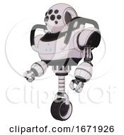 Automaton Containing Round Head And Bug Eye Array And Heavy Upper Chest And Triangle Of Blue Leds And Unicycle Wheel White Halftone Toon Facing Right View