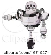 Automaton Containing Round Head And Bug Eye Array And Heavy Upper Chest And Triangle Of Blue Leds And Unicycle Wheel White Halftone Toon Arm Out Holding Invisible Object