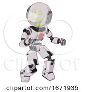 Cyborg Containing Round Head And Green Eyes Array And Light Chest Exoshielding And Red Chest Button And Prototype Exoplate Legs White Halftone Toon Fight Or Defense Pose
