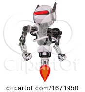 Droid Containing Round Head And Horizontal Red Visor And Head Winglets And Heavy Upper Chest And No Chest Plating And Jet Propulsion White Halftone Toon Hero Pose