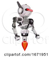 Droid Containing Round Head And Horizontal Red Visor And Head Winglets And Heavy Upper Chest And No Chest Plating And Jet Propulsion White Halftone Toon Facing Left View