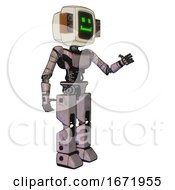 Android Containing Old Computer Monitor And Happy Pixel Face And Old Retro Speakers And Light Chest Exoshielding And Ultralight Chest Exosuit And Prototype Exoplate Legs Gray Metal Interacting