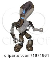 Droid Containing Flat Elongated Skull Head And Visor And Heavy Upper Chest And No Chest Plating And Light Leg Exoshielding Light Brown Halftone Fight Or Defense Pose