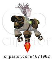 Cyborg Containing Humanoid Face Mask And Red Slashes War Paint And Heavy Upper Chest And Heavy Mech Chest And Green Energy Core And Jet Propulsion Old Copper Facing Left View
