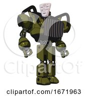 Bot Containing Humanoid Face Mask And Die Robots Graffiti Design And Heavy Upper Chest And Chest Vents And Prototype Exoplate Legs Army Green Halftone Hero Pose