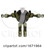 Bot Containing Humanoid Face Mask And Die Robots Graffiti Design And Heavy Upper Chest And Chest Vents And Prototype Exoplate Legs Army Green Halftone T Pose