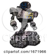 Automaton Containing Digital Display Head And Wide Smile And Heavy Upper Chest And Colored Lights Array And Tank Tracks Scribble Sketch Hero Pose