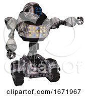 Automaton Containing Digital Display Head And Wide Smile And Heavy Upper Chest And Colored Lights Array And Tank Tracks Scribble Sketch Pointing Left Or Pushing A Button