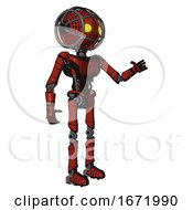 Robot Containing Oval Wide Head And Yellow Eyes And Barbed Wire Cage Helmet And Light Chest Exoshielding And Ultralight Chest Exosuit And Ultralight Foot Exosuit Cherry Tomato Red Interacting