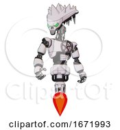 Android Containing Flat Elongated Skull Head And Spikes And Light Chest Exoshielding And Chest Valve Crank And Jet Propulsion White Halftone Toon Hero Pose