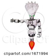 Android Containing Flat Elongated Skull Head And Spikes And Light Chest Exoshielding And Chest Valve Crank And Jet Propulsion White Halftone Toon Arm Out Holding Invisible Object