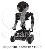 Android Containing Round Head And Bug Eye Array And Heavy Upper Chest And No Chest Plating And Six Wheeler Base Clean Black Standing Looking Right Restful Pose