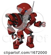 Mech Containing Oval Wide Head And Blue Led Eyes And Retro Antenna With Light And Heavy Upper Chest And Heavy Mech Chest And Prototype Exoplate Legs Cherry Tomato Red Fight Or Defense Pose