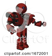 Mech Containing Oval Wide Head And Blue Led Eyes And Retro Antenna With Light And Heavy Upper Chest And Heavy Mech Chest And Prototype Exoplate Legs Cherry Tomato Red Interacting
