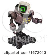 Automaton Containing Old Computer Monitor And Pixel Square Design And Red Buttons And Heavy Upper Chest And Colored Lights Array And Six Wheeler Base Dusty Rose Red Metal Fight Or Defense Pose