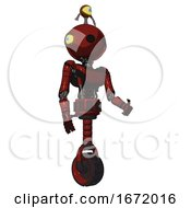 Android Containing Oval Wide Head And Minibot Ornament And Light Chest Exoshielding And Ultralight Chest Exosuit And Unicycle Wheel Matted Red Facing Left View