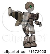 Robot Containing Grey Alien Style Head And Green Demon Eyes And Light Chest Exoshielding And Chest Valve Crank And Stellar Jet Wing Rocket Pack And Light Leg Exoshielding Patent Khaki Metal
