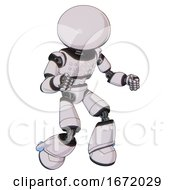 Robot Containing Dome Head And Light Chest Exoshielding And Chest Green Blue Lights Array And Light Leg Exoshielding White Halftone Toon Fight Or Defense Pose