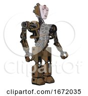 Bot Containing Humanoid Face Mask And Red Slashes War Paint And Heavy Upper Chest And No Chest Plating And Prototype Exoplate Legs Old Copper Facing Left View