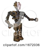 Bot Containing Humanoid Face Mask And Red Slashes War Paint And Heavy Upper Chest And No Chest Plating And Prototype Exoplate Legs Old Copper Interacting