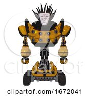Automaton Containing Humanoid Face Mask And Die Robots Graffiti Design And Heavy Upper Chest And Chest Energy Sockets And Six Wheeler Base Worn Construction Yellow Front View