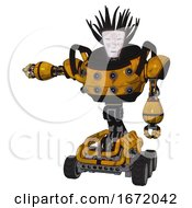 Automaton Containing Humanoid Face Mask And Die Robots Graffiti Design And Heavy Upper Chest And Chest Energy Sockets And Six Wheeler Base Worn Construction Yellow Arm Out Holding Invisible Object