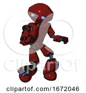 Mech Containing Oval Wide Head And Blue Eyes And Light Chest Exoshielding And Prototype Exoplate Chest And Light Leg Exoshielding And Megneto Hovers Foot Mod Matted Red Fight Or Defense Pose