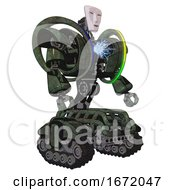 Droid Containing Humanoid Face Mask And Heavy Upper Chest And Heavy Mech Chest And Spectrum Fusion Core Chest And Tank Tracks Old Corroded Copper Facing Left View